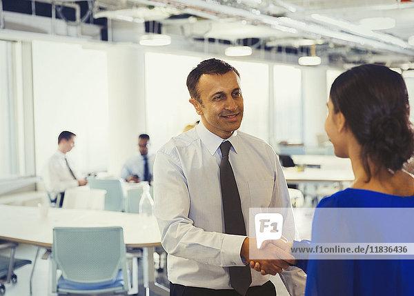 Geschäftsmann beim Händeschütteln mit Geschäftsfrau im Amt