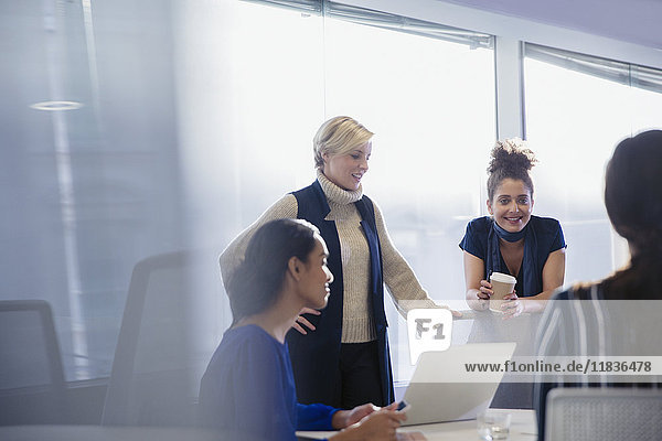 Businesswomen talking  working in conference room meeting
