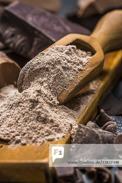 Still life with wooden scoop full with chocolate powder