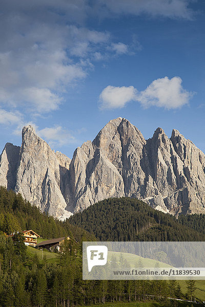 Houses in remote mountain landscape  Funes  Trentino Alto Adige  Italy
