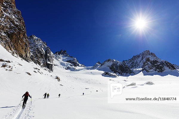 Ski touring on Glacier de Argentiere  Chamonix  Rhone Alpes  Haute Savoie  French Alps  France  Europe