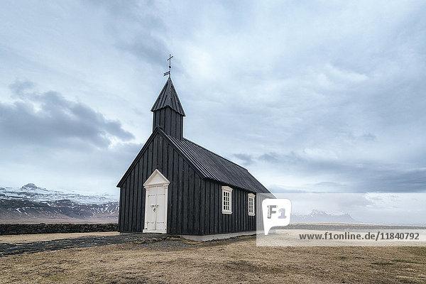 Remote church  Hellissandur  Snaellsnes peninsula  Iceland