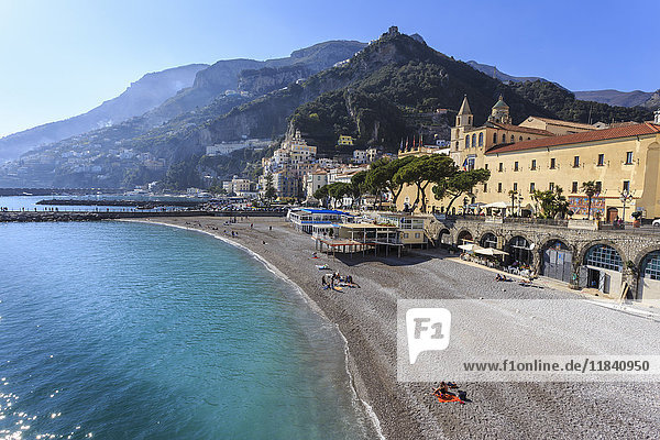 People on beach in spring sun  Amalfi  Costiera Amalfitana (Amalfi Coast)  UNESCO World Heritage Site  Campania  Italy  Europe