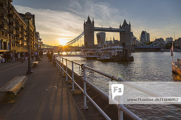 Tower Bridge and City of London skyline from Butler's Wharf at sunset  London  England  United Kingdom  Europe