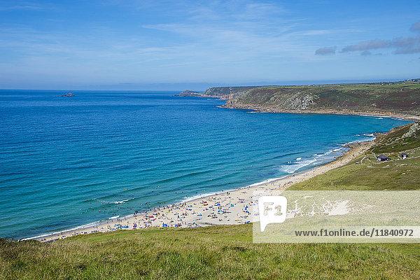 View over Sennen Cove  Cornwall  England  United Kingdom  Europe