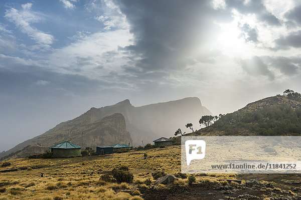 Sun setting over the Simien Mountains National Park  UNESCO World Heritage Site  Debarq  Ethiopia  Africa