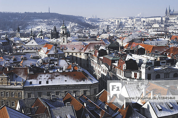 City from the Astronomical Clock Tower  Prague  Czech Republic  Europe