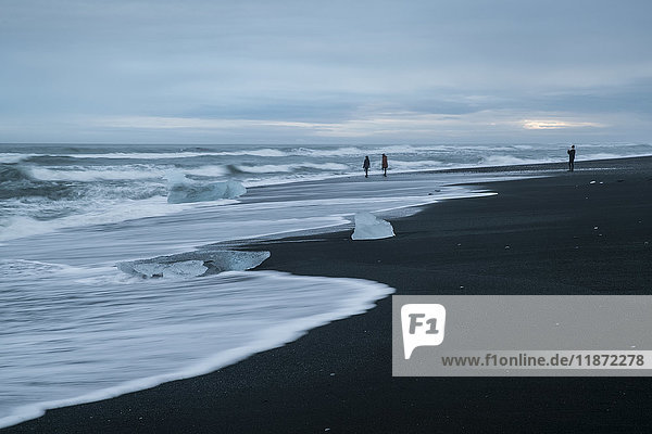'People walking along the beach playing in the surf at Diamond Beach  South coast; Iceland'