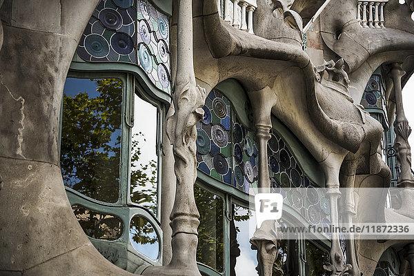 'Famous building La Pedrera  from Gaudi; Barcelona  Catalonia  Spain'