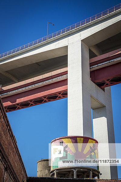 'LX Factory situated beneath the Ponte 25 de Abril suspension bridge; Lisbon  Portugal'