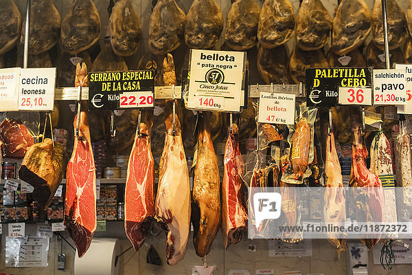 'Delicatessen shop in Madrid's downtown  some delicious spanish hams; Madrid  Spain'