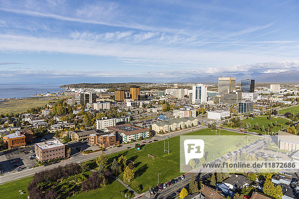 Aerial view of downtown Anchorage and the Delaney Park strip  Southcentral Alaska  USA