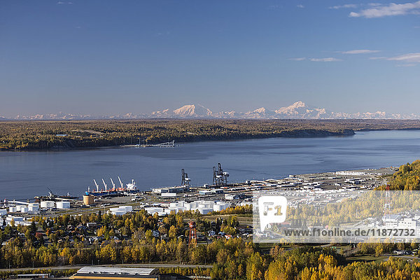 Aerial view of the Port of Anchorage  Cook Inlet  and the Alaska Range in the background in autumn  Southcentral Alaska  USA