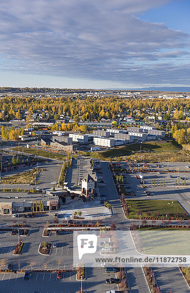 Aerial view of a shopping complex and low income housing apartments  Mountain View neighborhood  Anchorage  Southcentral Alaska  USA