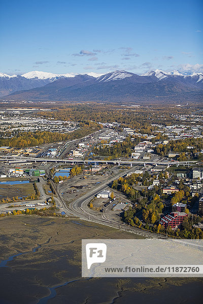Aerial view of the bridge over Ship Creek and downtown Anchorage  Southcentral Alaska  USA
