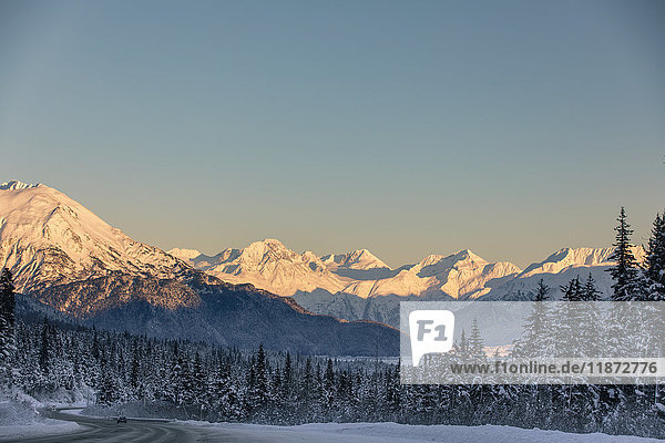 Sunset on Chugach Mountains and Turnagain Arm in winter  Southcentral Alaska  USA