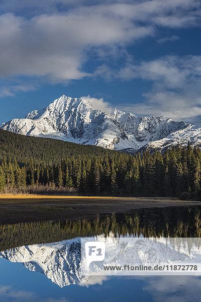 Scenic view of Kenai Mountains reflecting in Bear Lake near Seward  Southcentral Alaska  USA