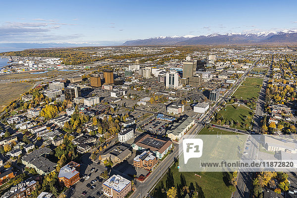 Aerial view of downtown Anchorage and the Delaney Park Strip during autumn  Southcentral Alaska  USA
