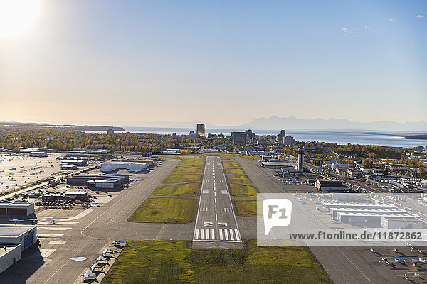 Aerial view of airstrip at Merrill Field near downtown Anchorage  Southcentral Alaska  USA