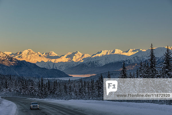 Sunset view on the Chugach Mountains  Turnagain Arm and Seward Highway in winter  Southcentral Alaska  USA