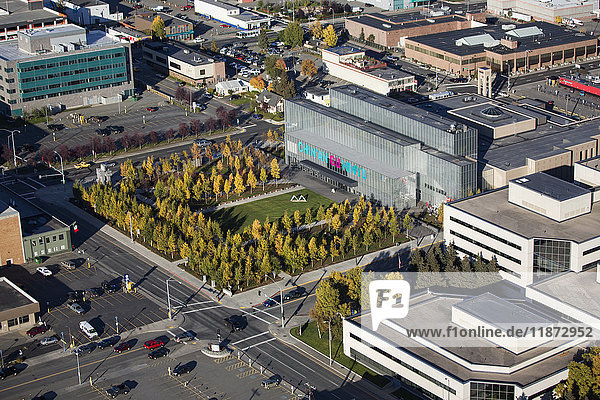 Aerial view of the Anchorage Museum in downtown Anchorage during autumn  Southcentral Alaska  USA