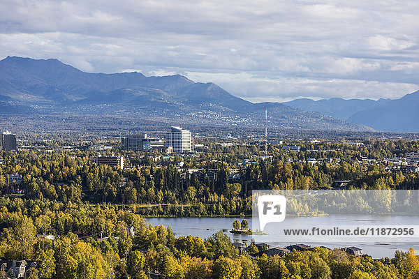 Aerial view of Westchester Lagoon and Midtown Anchorage in autumn  Southcentral Alaska  USA