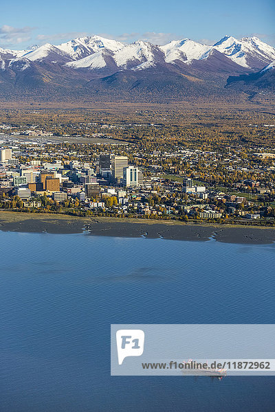 Aerial view of downtown Anchorage  the Chugach Mountains and Cook Inlet during autumn  Southcentral Alaska  USA
