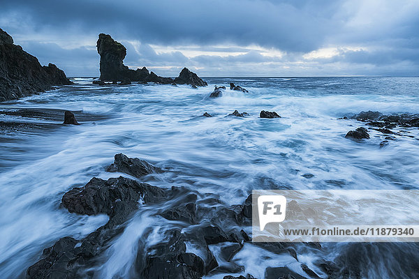 'The pounding surf on the beach of Djupalon which is on the western tip of the Snaefellsness Peninsula; Iceland'