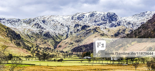'High Hartsop Dodd in The English Lake District with a covering of snow; Cumbria  England'