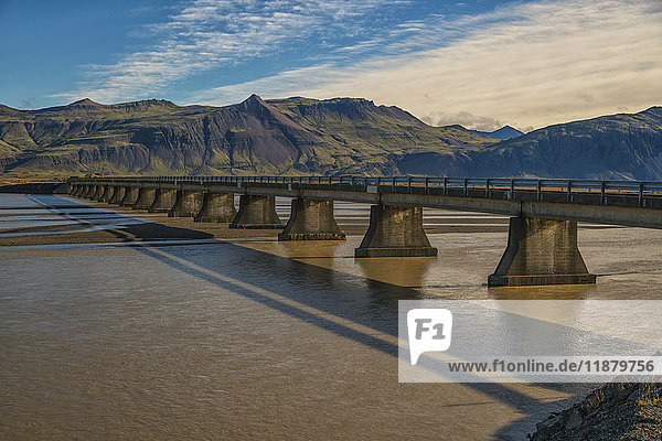 'Bridge over a glacial river along the South coast of Iceland; Iceland'