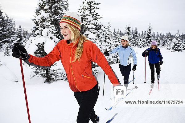 'Three young women cross country skiing  Ohlson Mountain; Alaska  United States of America'