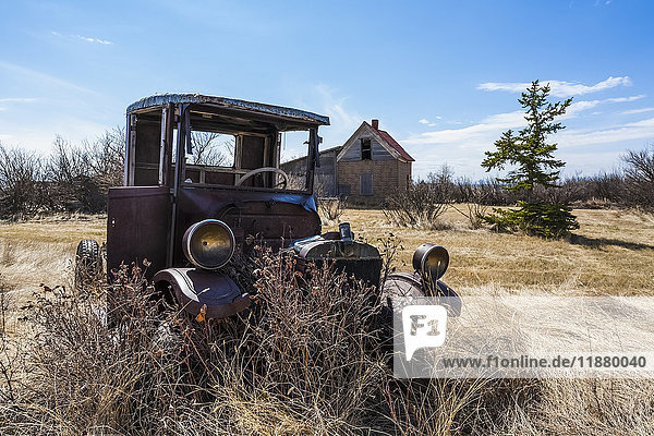 'A vintage car sitting in a field with overgrown grass and shrubs; Orion  Alberta  Canada'