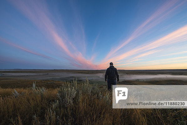 'A man stands watching watching the sunrise colour over the Frenchman River Valley in Grasslands National Park; Saskatchewan  Canada'