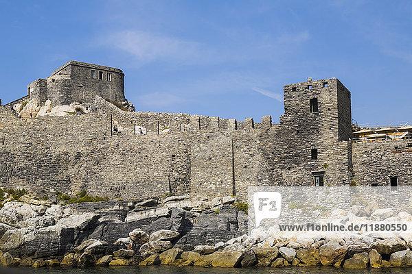 'Medieval fortress ruins; Porto Venere  La Spezia province  Italy'