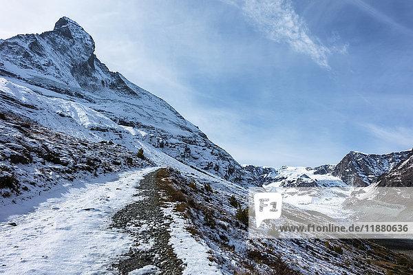 'A trail featuring the Matterhorn  near Zermatt; Valais  Switerzland'