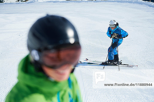 Father and son on skiing holiday  Hintertux  Tirol  Austria