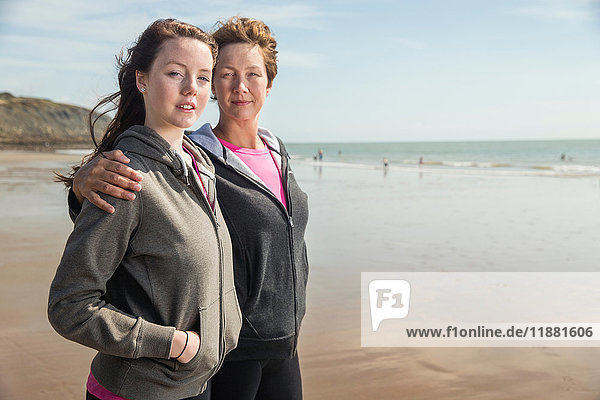 Mother and daughter on beach  Folkestone  UK