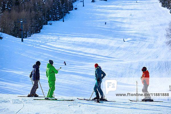 Vier Skifahrer mit Blick auf die Skipisten  Aspen  Colorado  USA