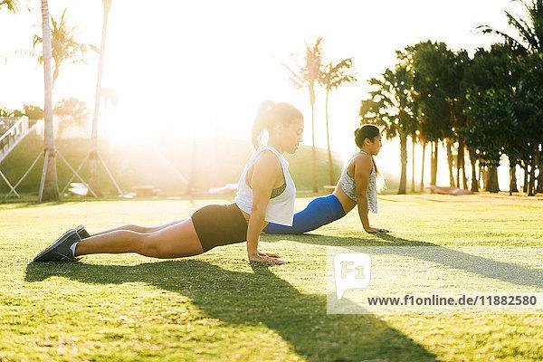 Zwei junge Frauen trainieren im Freien  Stretching  South Point Park  Miami Beach  Florida  USA