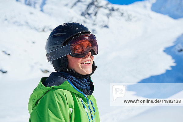 Boy on skiing holiday  Hintertux  Tirol  Austria