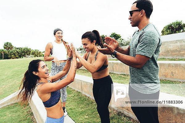 Drei Frauen feiern das Training  Personal Trainer klatschen  Point Park  Miami Beach  Florida  USA
