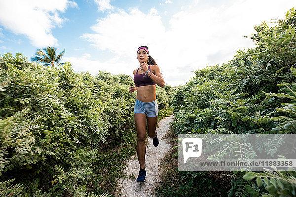 Junge Frau beim Sport im Freien  Laufen  South Point Park  Miami Beach  Florida  USA
