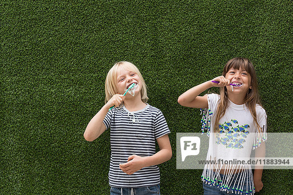 Children in front of artificial turf wall brushing teeth