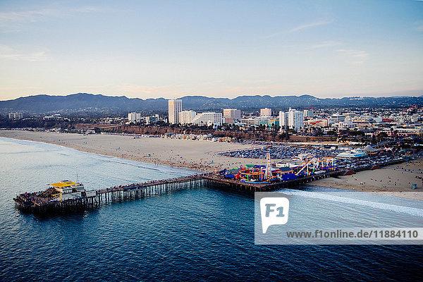 Amusement park and pier  high angle  Santa Monica  California  USA