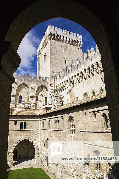 'Cloister and Campane tower through silhouetted arch  Palace of the Popes; Avignon  Provence  France'