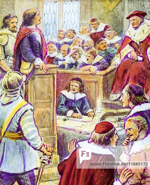 Magic lantern hand coloured slide circa 1900. A Pilgrim's Progress by John Bunyan. The Trial of Chri