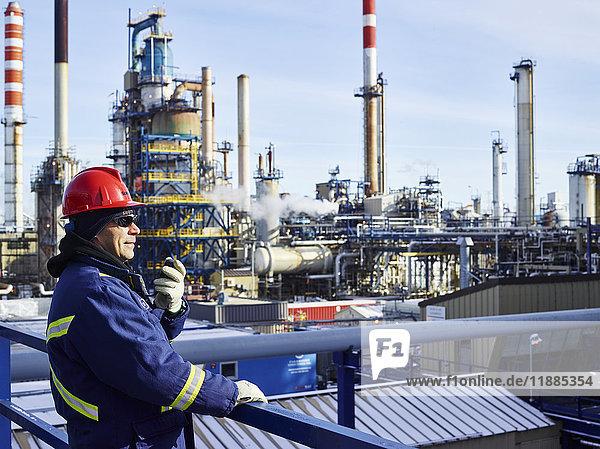 'Tradesman working at a refinery; Edmonton  Alberta  Canada'