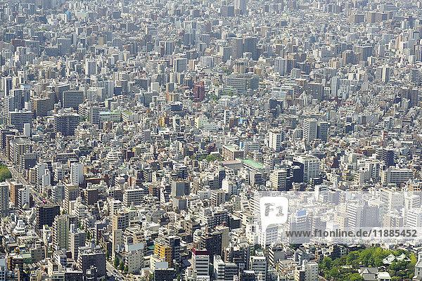 Luftaufnahme des überfüllten Stadtbildes an sonnigen Tagen  Tokio  Japan