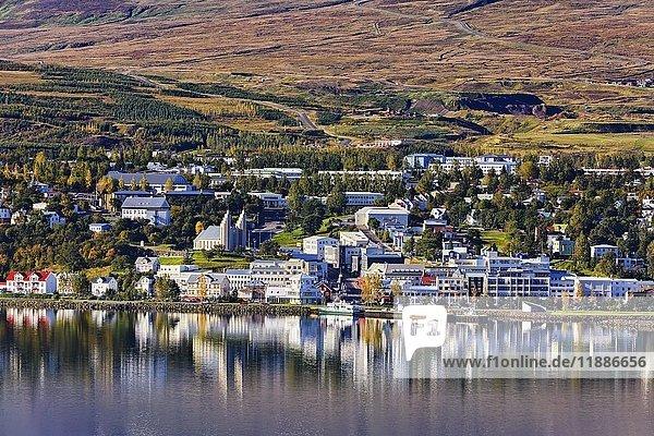 Blick von Osten über den Fjord Eyjafjörður nach Akureyri  Island  Europa