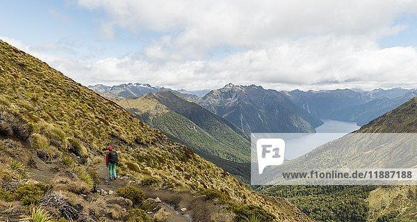 Wanderer  South Fiord des Lake Te Anau  Murchison Mountains  Südalpen im Hintergrund  Kepler Track  Fiordland National Park  Southland  Neuseeland  Ozeanien